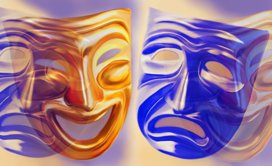 Frowning「'Comedy and Tragedy' masks (Digital Composite)」:スマホ壁紙(1)
