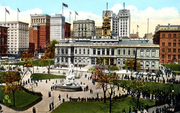 Town Hall「Early 20th century New York: City Hall and Park.」:写真・画像(18)[壁紙.com]
