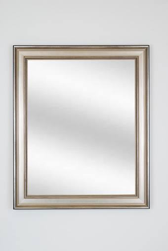 Rectangle「Silver Picture Frame with Mirror, White Isolated」:スマホ壁紙(2)
