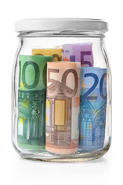 Money. Euro banknotes in a glass jar.:スマホ壁紙(壁紙.com)