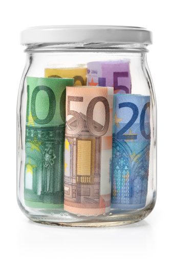 European Union「Money. Euro banknotes in a glass jar.」:スマホ壁紙(8)