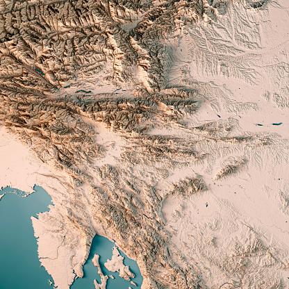 アドリア海「スロベニアの国 3 D レンダリング地形図ニュートラル」:スマホ壁紙(13)