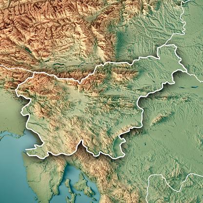 アドリア海「スロベニア国境 3 D のレンダリングの地形図」:スマホ壁紙(12)