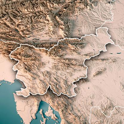 アドリア海「スロベニア中立的な国境 3 D のレンダリングの地形図」:スマホ壁紙(11)