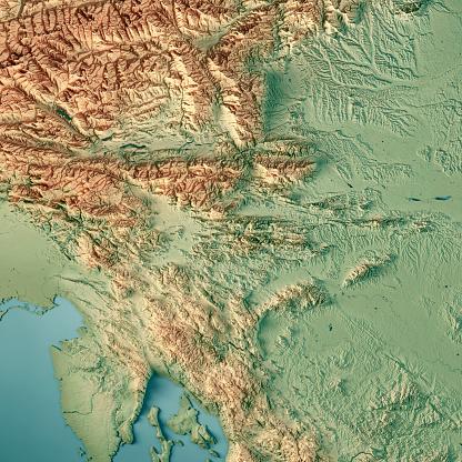 アドリア海「スロベニア国 3 D 地形図を表示します。」:スマホ壁紙(10)