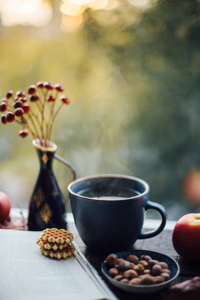 Cup of steaming tea, book, cookies and autumnal decoration on window sill:スマホ壁紙(壁紙.com)
