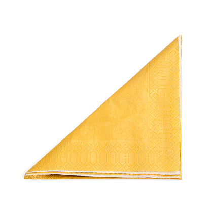 Place Setting「A folded yellow napkin on a white background」:スマホ壁紙(15)