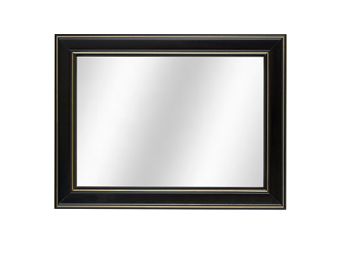 Mirror - Object「Mirror in Black Picture Frame, Contemporary Style, White Isolated」:スマホ壁紙(5)