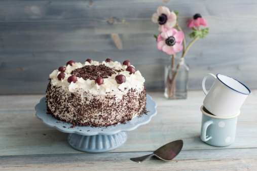 Cherry Blossom「Black Forest Cake on blue cake stand in front of grey background」:スマホ壁紙(13)