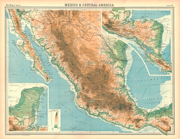Baja California Peninsula「Map Of Mexico And Central America Artist Unknown」:写真・画像(1)[壁紙.com]