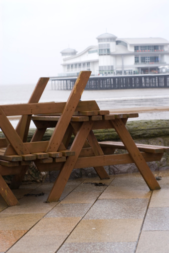 Weston-super-Mare「Upturned wooden tables at out of season seaside」:スマホ壁紙(5)