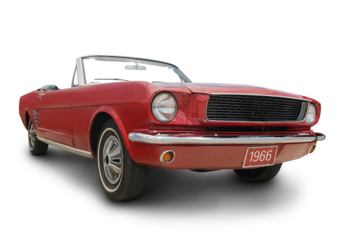 Sports Car「A red Mustang convertible isolated on white」:スマホ壁紙(17)