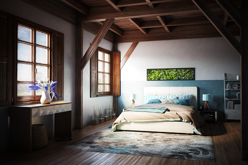 Desk Lamp「Cozy Turquoise Colored Bedroom」:スマホ壁紙(4)
