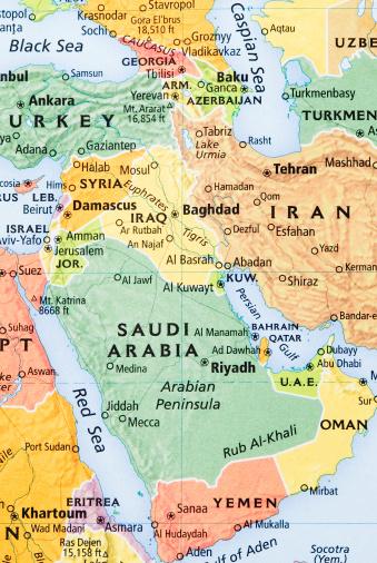 Iran「Middle East, Saudi Arabia penninsula and Persian Gulf Region map」:スマホ壁紙(0)