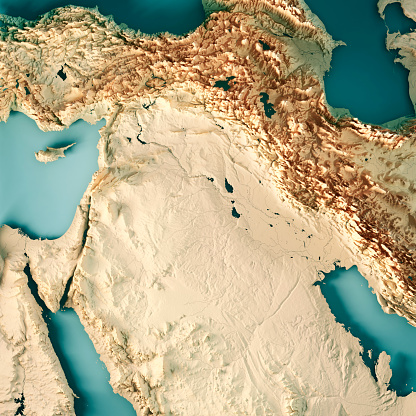 Iran「Middle East Syria Iraq 3D Render Topographic Map Color」:スマホ壁紙(0)