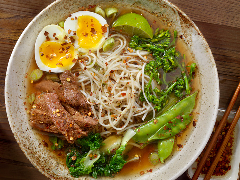 Vietnamese Cuisine「Beef Ramen Noodle and Vegetable Soup with A soft Boiled Egg」:スマホ壁紙(14)