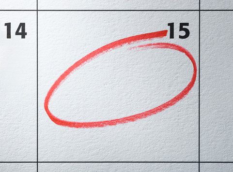 Number「Monthly calendar with day circled in red」:スマホ壁紙(1)