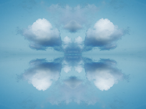 Cumulus Cloud「Rorschach collage of fluffy white clouds in heaven」:スマホ壁紙(17)