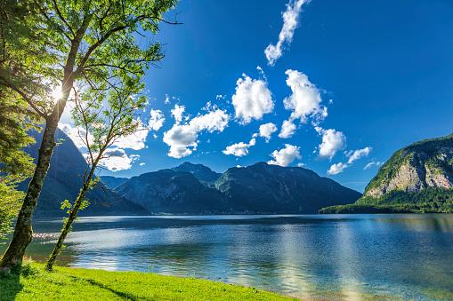 Salzkammergut「mountain lake at sunset (HDRi)」:スマホ壁紙(0)
