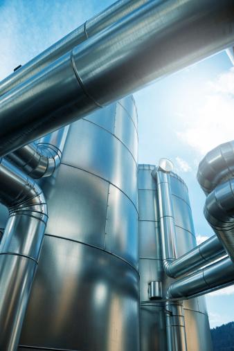 Biomass - Renewable Energy Source「A pufferspeicher blockheizkraftwerk of a biogas in Germany」:スマホ壁紙(3)