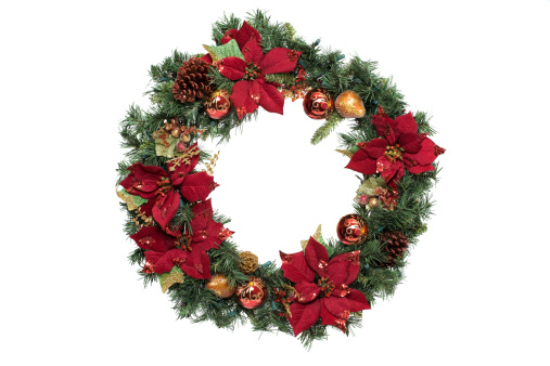 Knick Knack「Adorned Christmas Wreath with Ornaments, on White, Copy Space」:スマホ壁紙(13)