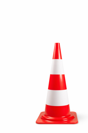 Traffic Cone「Traffic bollard/cone on white background with copy」:スマホ壁紙(9)