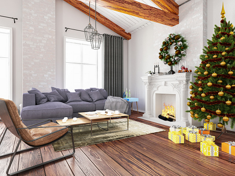 Fantasy「New Year Concept. Christmas Tree with Fireplace and Ornaments」:スマホ壁紙(18)