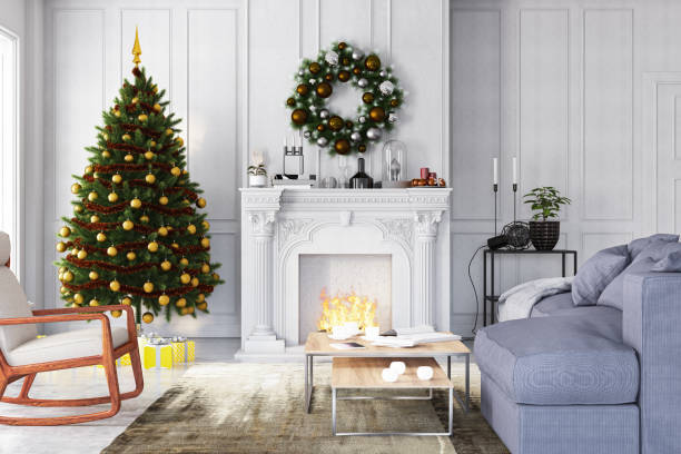 New Year Concept. Christmas Tree with Fireplace and Ornaments:スマホ壁紙(壁紙.com)