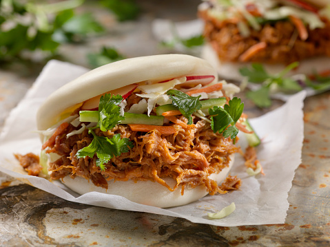 Chinese Steamed Bun「Steamed Bao Buns with Pulled Pork」:スマホ壁紙(1)