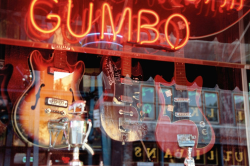 Blues Music「Stores reflected in guitar shop window with neon sign」:スマホ壁紙(9)