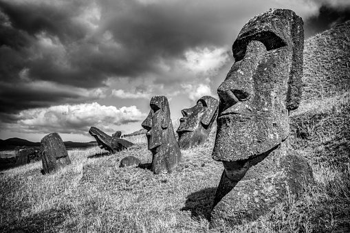 イースター「モアイ Raraku イースター島の彫像ラパヌイ BW」:スマホ壁紙(17)