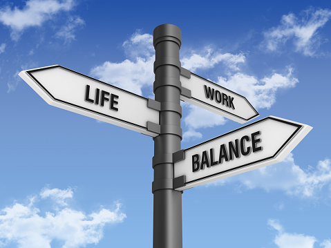 Choosing「Directional Sign with Life Work Balance Words and Sky」:スマホ壁紙(10)