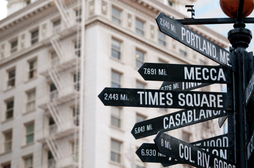 Pilgrimage「Directional and distance signs in Pioneer Courthouse Square in Portland」:スマホ壁紙(11)