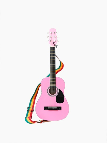 Guitar「A Pink Acoustic Guitar With a Rainbow Colored Strap」:スマホ壁紙(17)