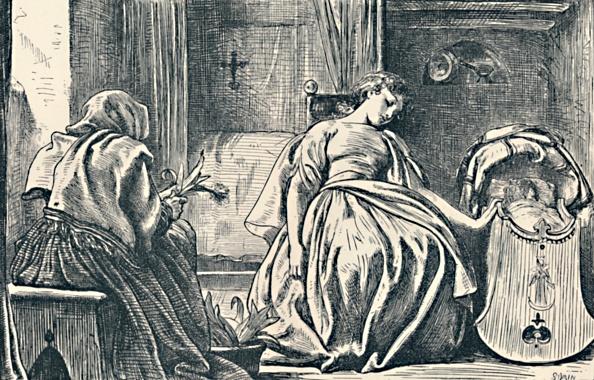 Bedroom「Tessa At Home From George Eliots Romola 1862-63」:写真・画像(15)[壁紙.com]