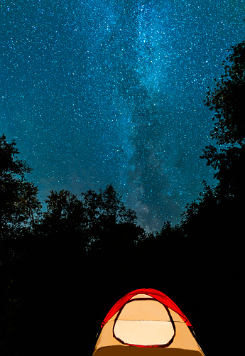 Space and Astronomy「USA, Maine, Acadia National Park, Tent in forest against stars on night sky」:スマホ壁紙(18)