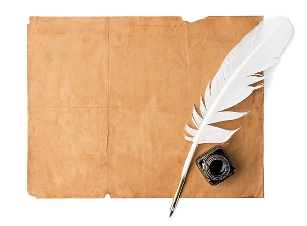 Quill pen and old paper:スマホ壁紙(壁紙.com)