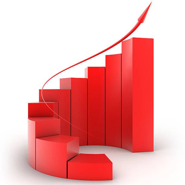 Three-dimensional red bar graph spiral staircase:スマホ壁紙(壁紙.com)