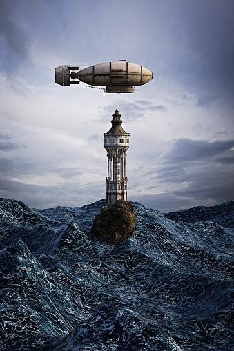 Airship「Zeppelin hovering over lighthouse on rock in ocean」:スマホ壁紙(16)