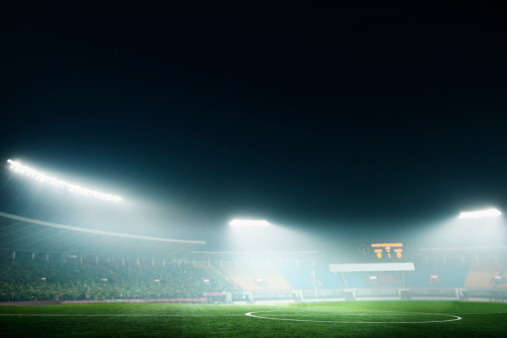 Image「Digital coposit of soccer field and night sky」:スマホ壁紙(1)