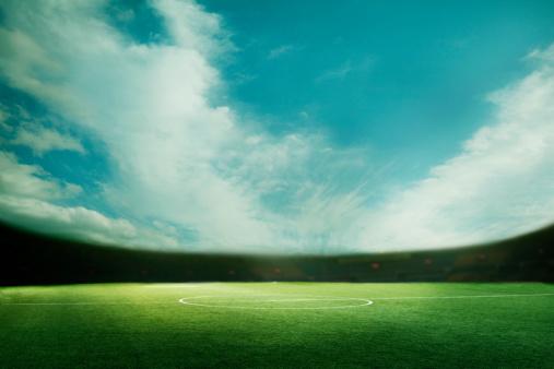 Scoreboard「Digital coposit of soccer field and blue sky」:スマホ壁紙(11)