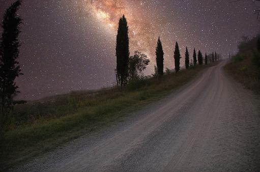 Milky Way「Tuscany Tree Lined Road at Night」:スマホ壁紙(16)