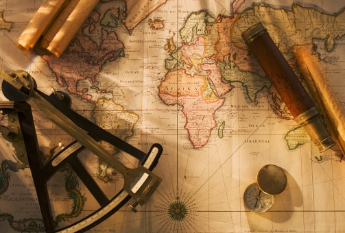 Map of the world「Octant, compass and telescope on nautical map」:スマホ壁紙(13)