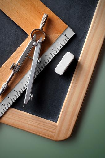 Chalk - Art Equipment「Education. Blackboard with ruler, compass and chalk.」:スマホ壁紙(10)