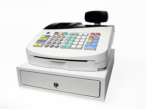 Cash Register「Modern Push button cash register isolated on white」:スマホ壁紙(7)