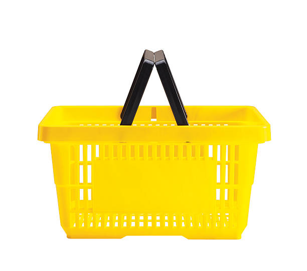 A yellow shopping basket with a black handle:スマホ壁紙(壁紙.com)