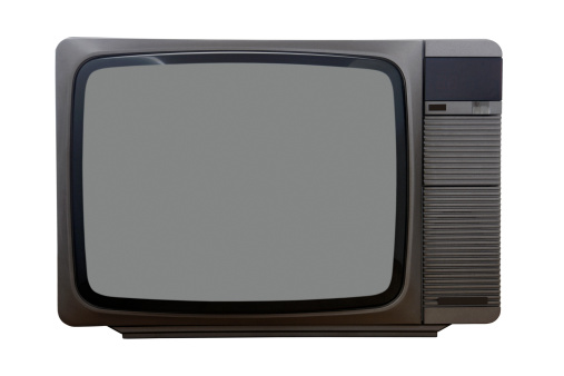 1980-1989「Front view of old color TV from early 80's, isolated」:スマホ壁紙(18)