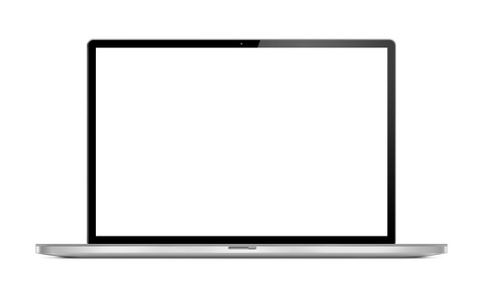 White Background「Front View of Modern Laptop」:スマホ壁紙(18)