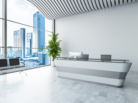 Corporate Business「Front View of Reception Desk with CityScape」:スマホ壁紙(3)