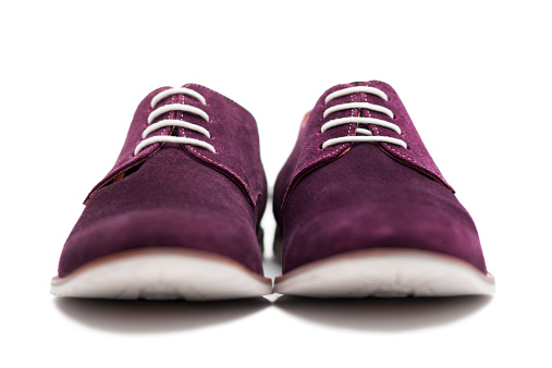 Purple Shoe「Front view of suede shoes on a white background」:スマホ壁紙(19)
